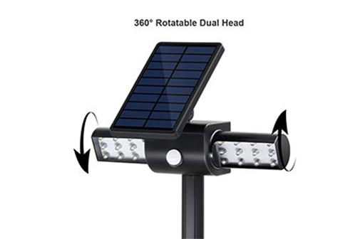solar light with a rotatable dual head
